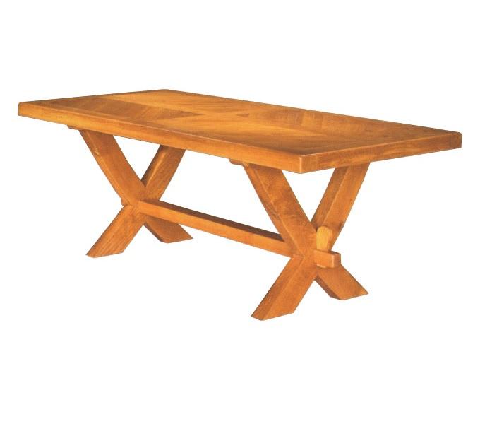 Mesa maciza en roble franc s aspecto r stico 4patas - Patas madera para mesas ...
