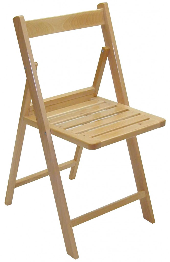 Silla plegable en madera de haya maciza barnizada 4patas for Sillas madera baratas