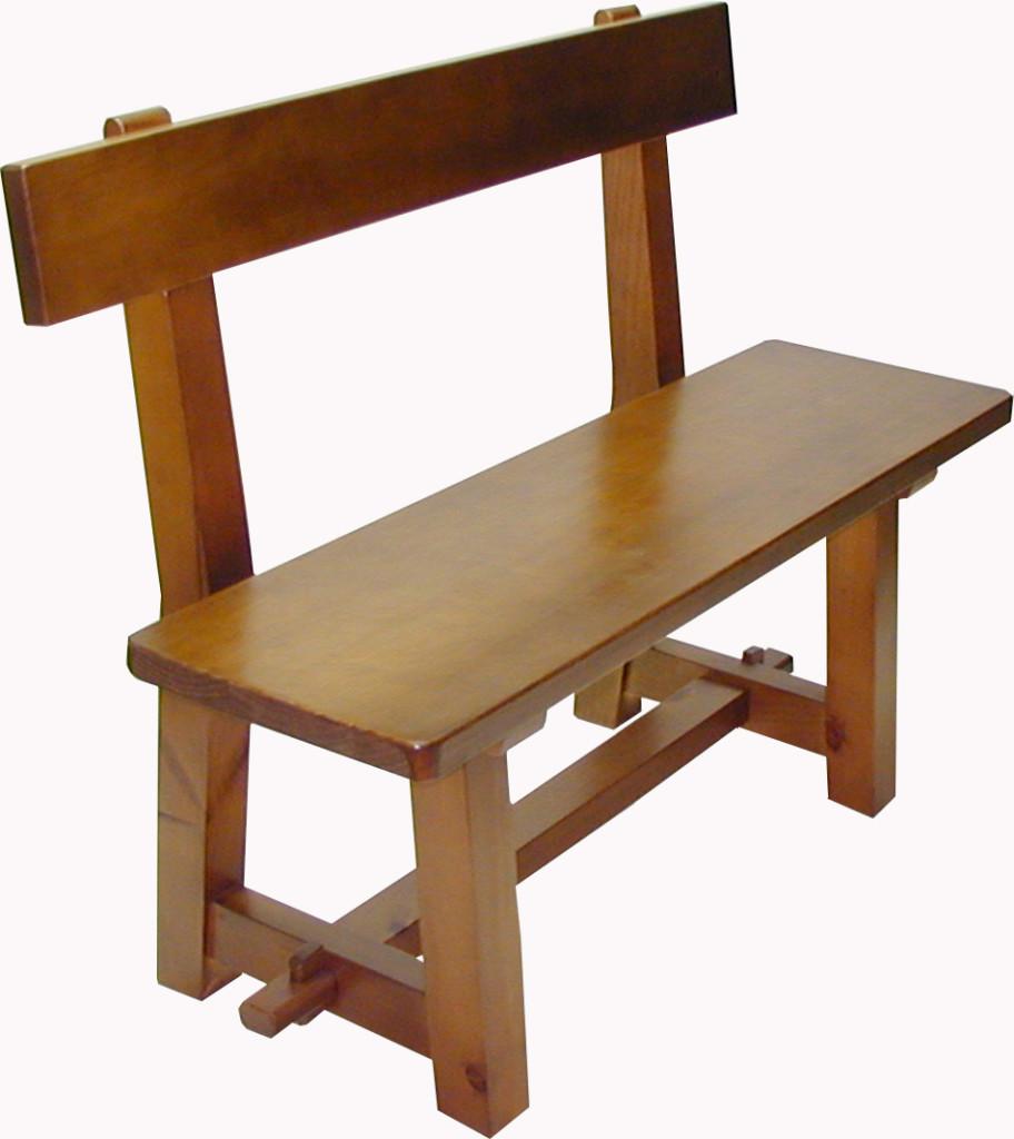 Banco de madera con respaldo for Bancos de bar de madera