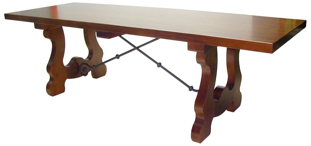 Mesa de madera de pino 4 patas - Patas de forja para mesas ...